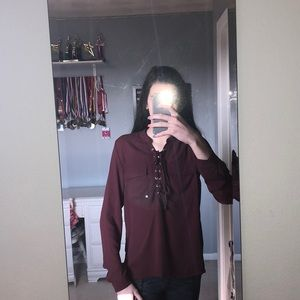 super cute maroon colored long sleeve blouse